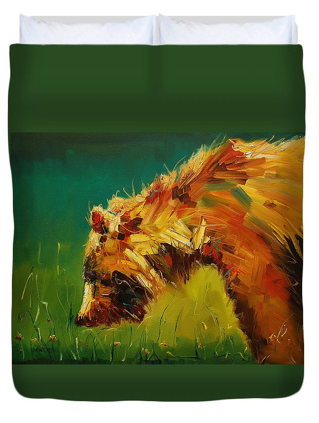 Bear Duvet Cover featuring the painting Spring Flower Bear by Diane Whitehead