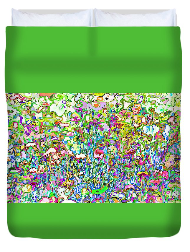 Art Abstrait Duvet Cover featuring the painting Spring Flower Bed by Lawrence O'Toole