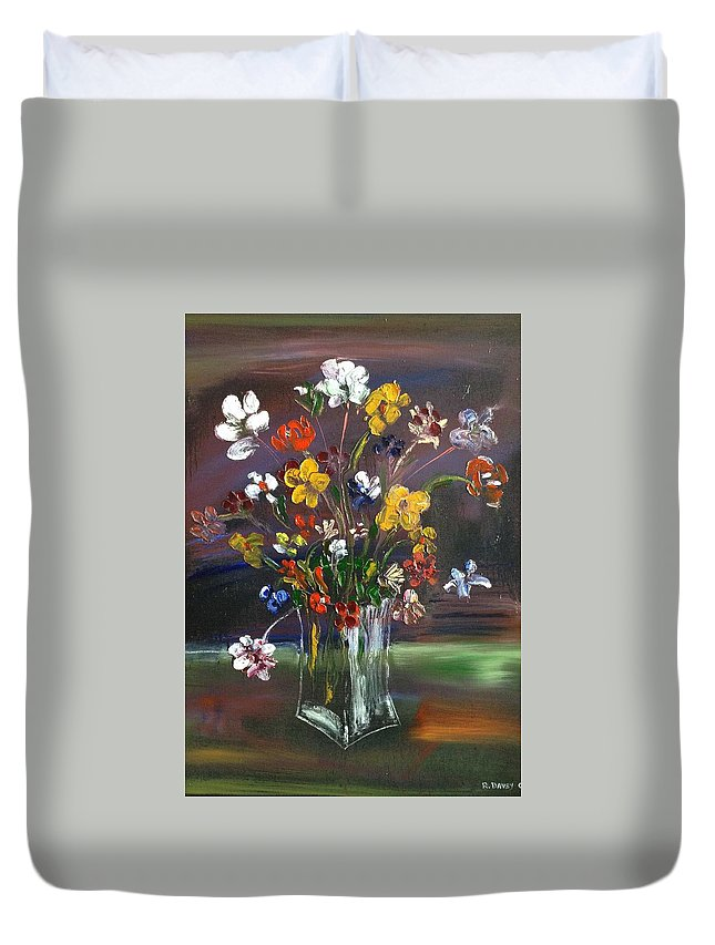 Spring Duvet Cover featuring the painting Spring Flowers In Vase by Roger Davey
