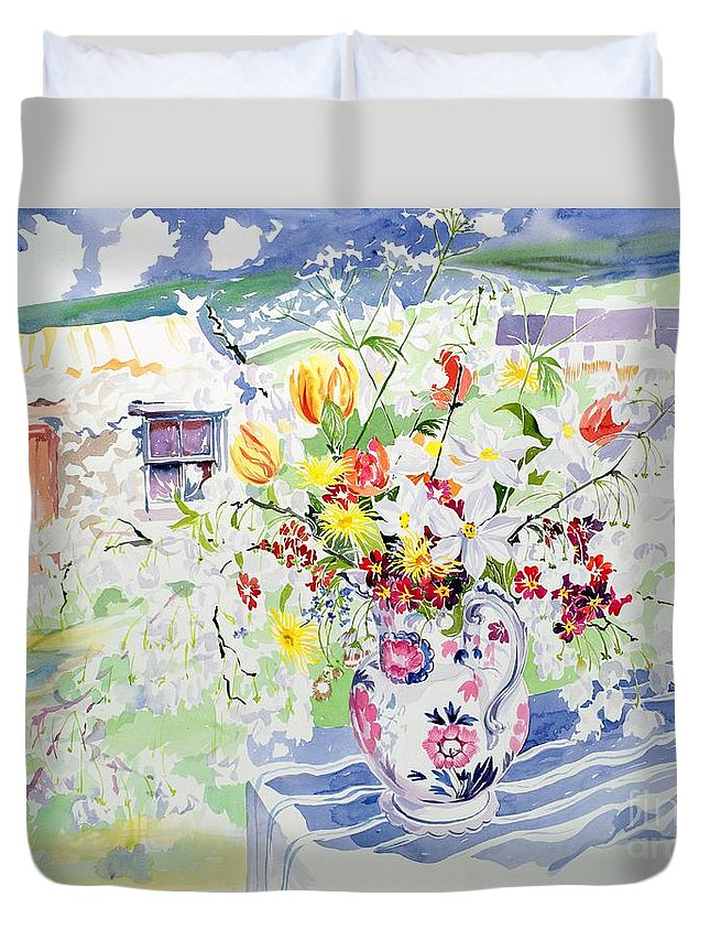 Flower Duvet Cover featuring the painting Spring Flowers On The Island by Elizabeth Jane Lloyd