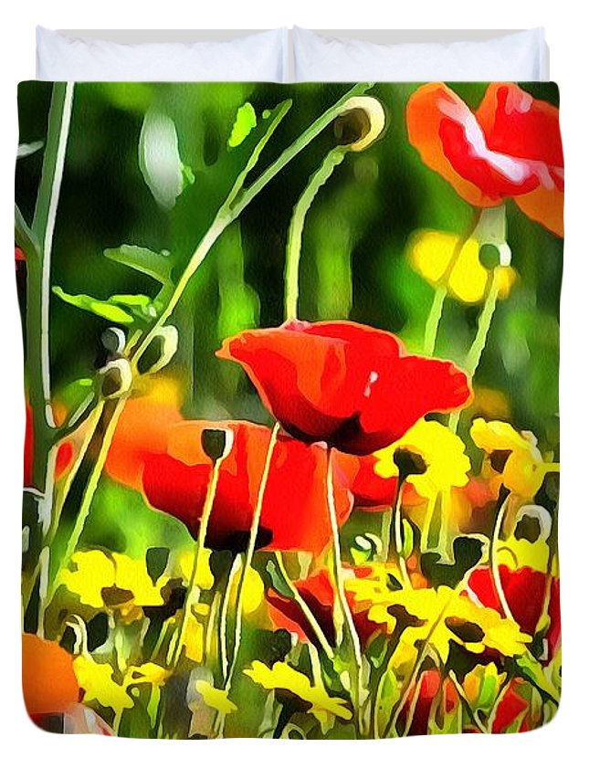 Poppy Duvet Cover featuring the painting Spring Flowers by Taiche Acrylic Art