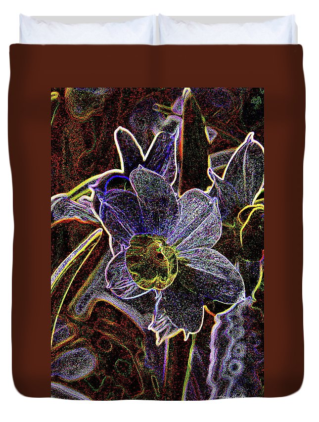 Flowers Duvet Cover featuring the pyrography Spring Garden Art by Harry Moulton