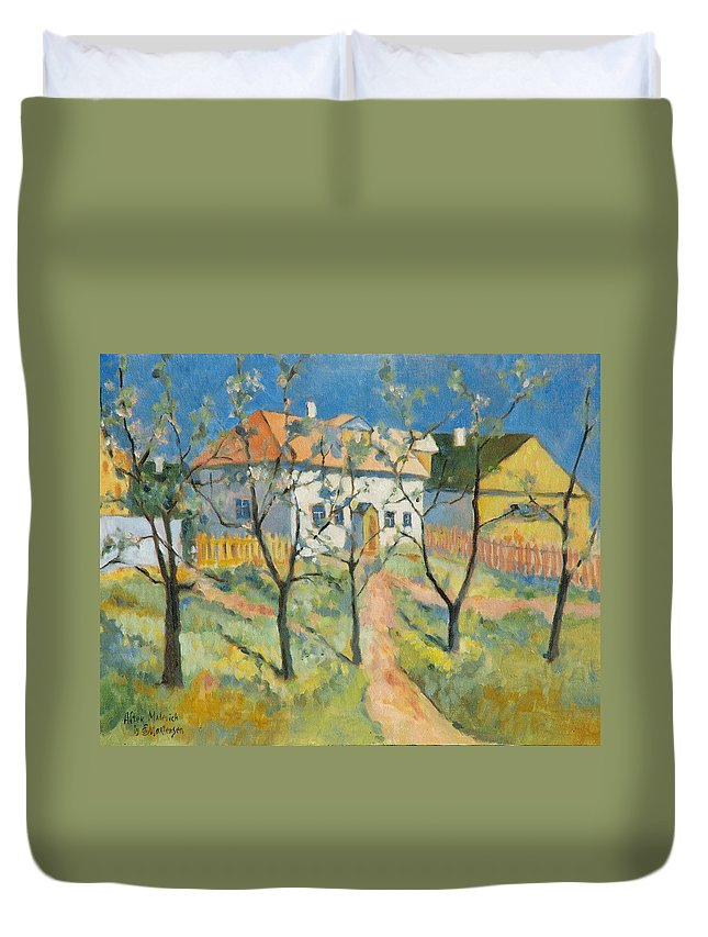 Malevich Duvet Cover featuring the painting Spring Garden In Bloom My Reproduction Of Malevichs Work by Ekaterina Mortensen