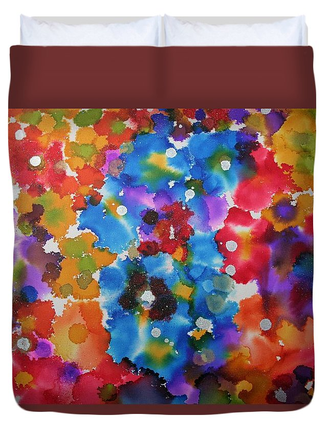 Spring Flowers Duvet Cover featuring the painting Spring Garden Magic by Alma Yamazaki