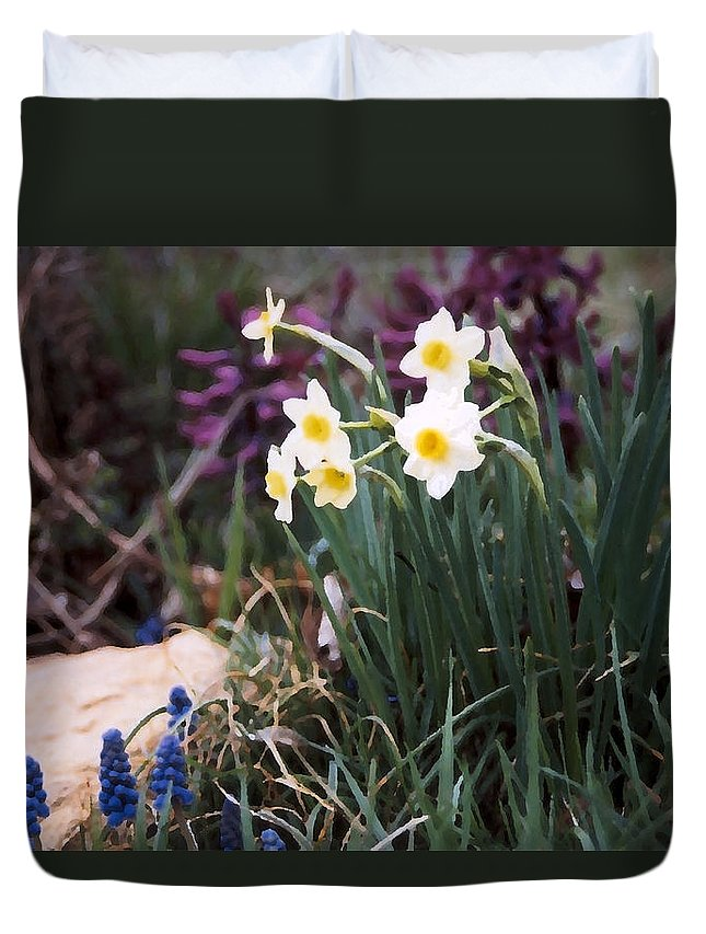 Flowers Duvet Cover featuring the photograph Spring Garden by Steve Karol