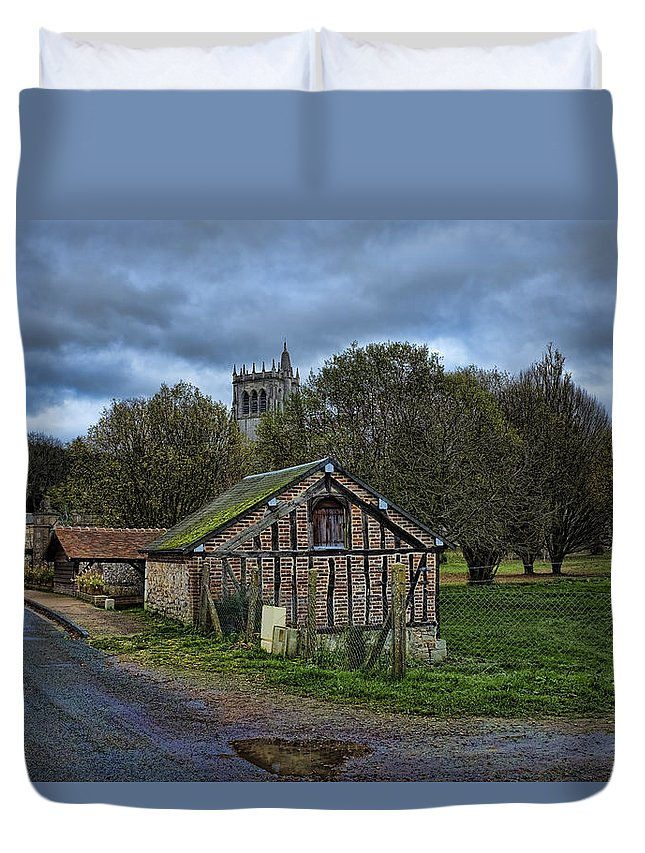 Springhouse Duvet Cover featuring the photograph Spring House And Abbey by Hugh Smith