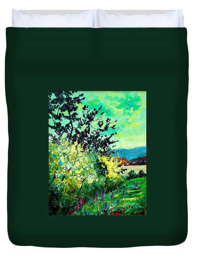Spring Duvet Cover featuring the painting spring in Ciergnon by Pol Ledent