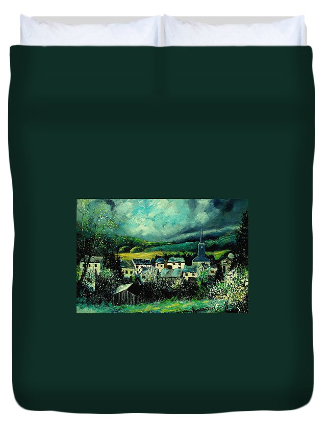 Tree Duvet Cover featuring the painting Spring In Daverdisse by Pol Ledent