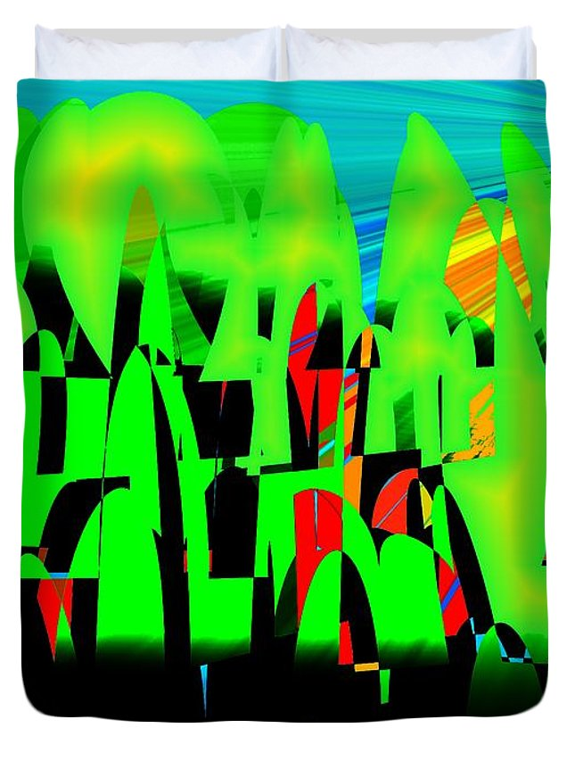 Spring.forest Duvet Cover featuring the digital art Spring In Digital Forest by Helmut Rottler