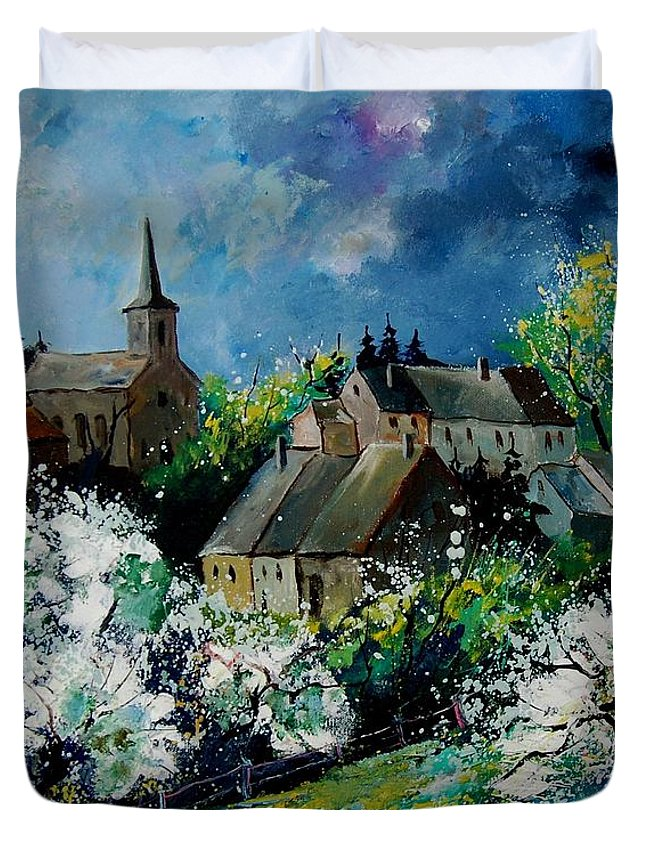 Spring Duvet Cover featuring the painting Spring In Fays Famenne by Pol Ledent