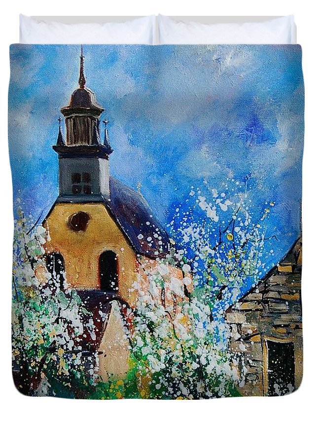 Spring Duvet Cover featuring the painting Spring In Foy Notre Dame Dinant by Pol Ledent