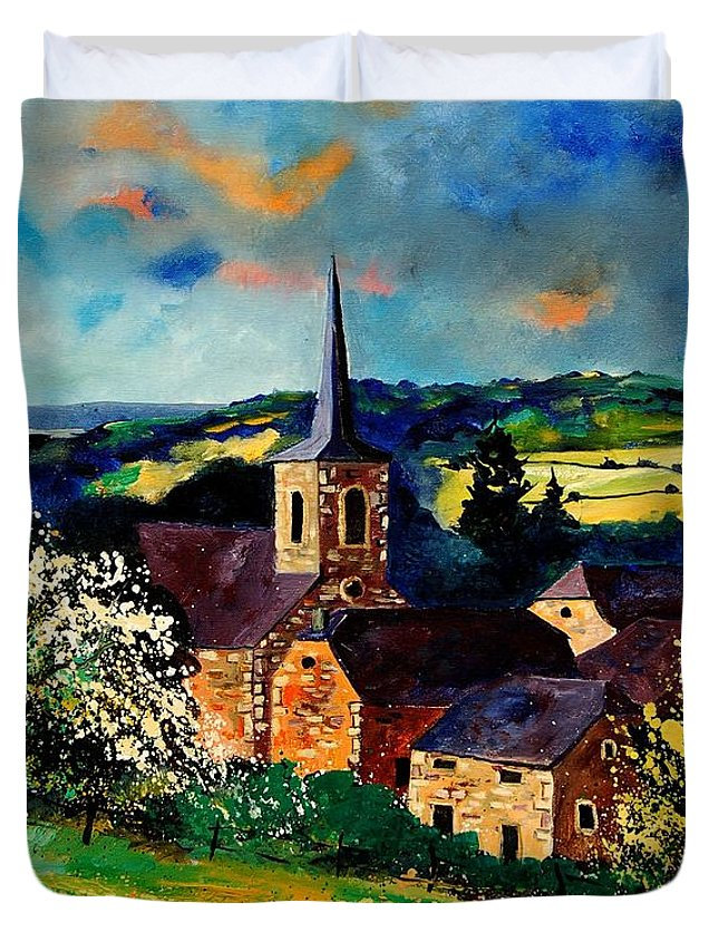 Spring Duvet Cover featuring the painting Spring In Gendron by Pol Ledent