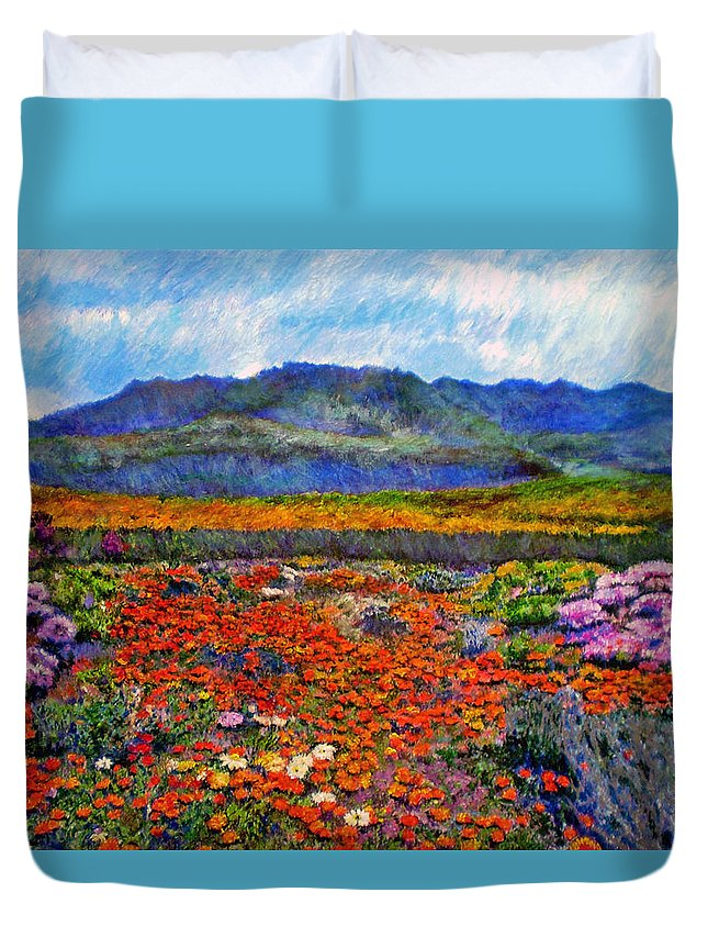 Spring Duvet Cover featuring the painting Spring In Namaqualand by Michael Durst