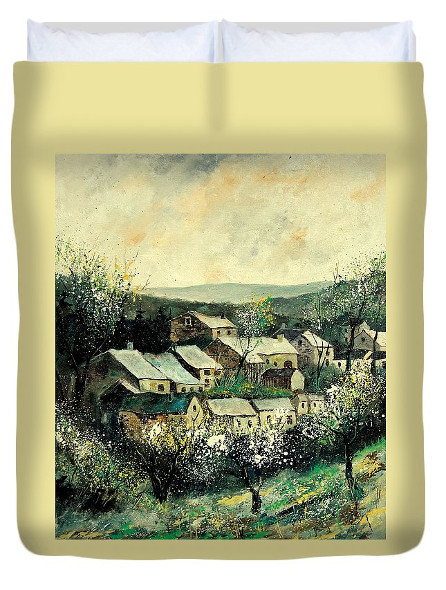 Spring Duvet Cover featuring the painting Spring In The Ardennes Belgium by Pol Ledent