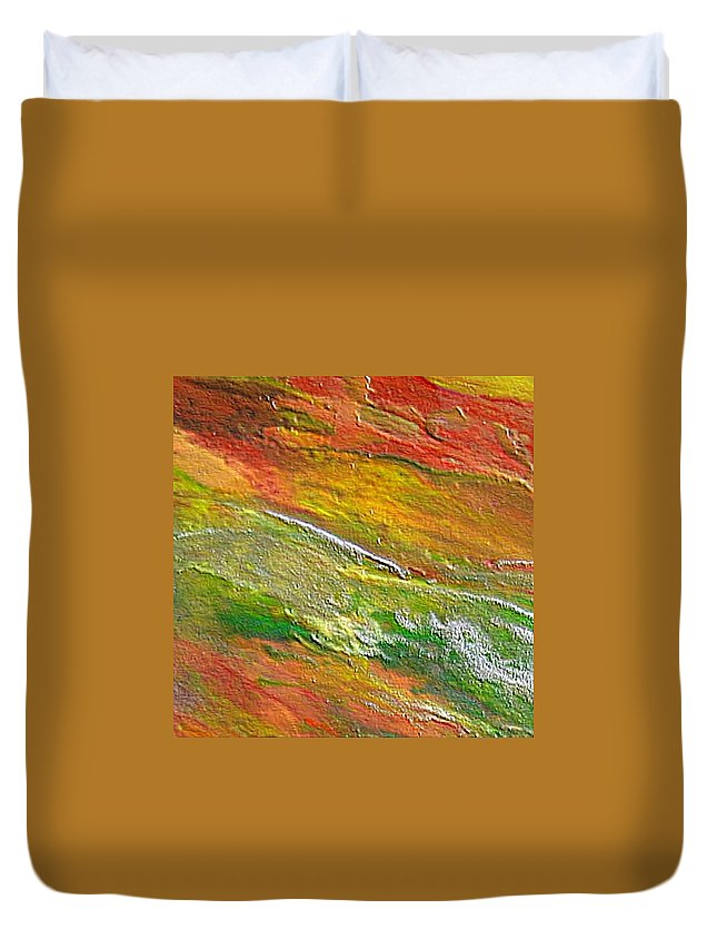Abstract Duvet Cover featuring the painting Spring In The Desert by Dragica Micki Fortuna