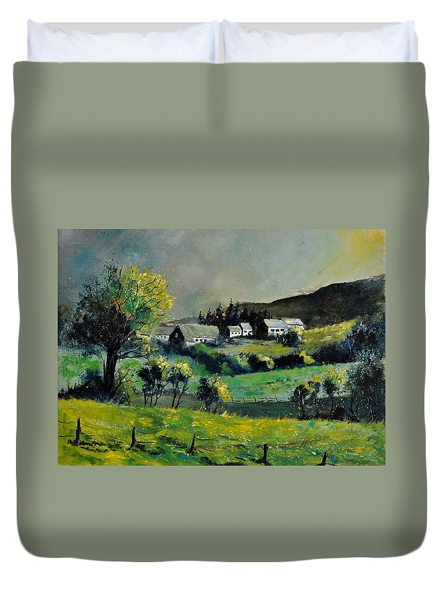 Landscape Duvet Cover featuring the painting Spring In Voneche by Pol Ledent