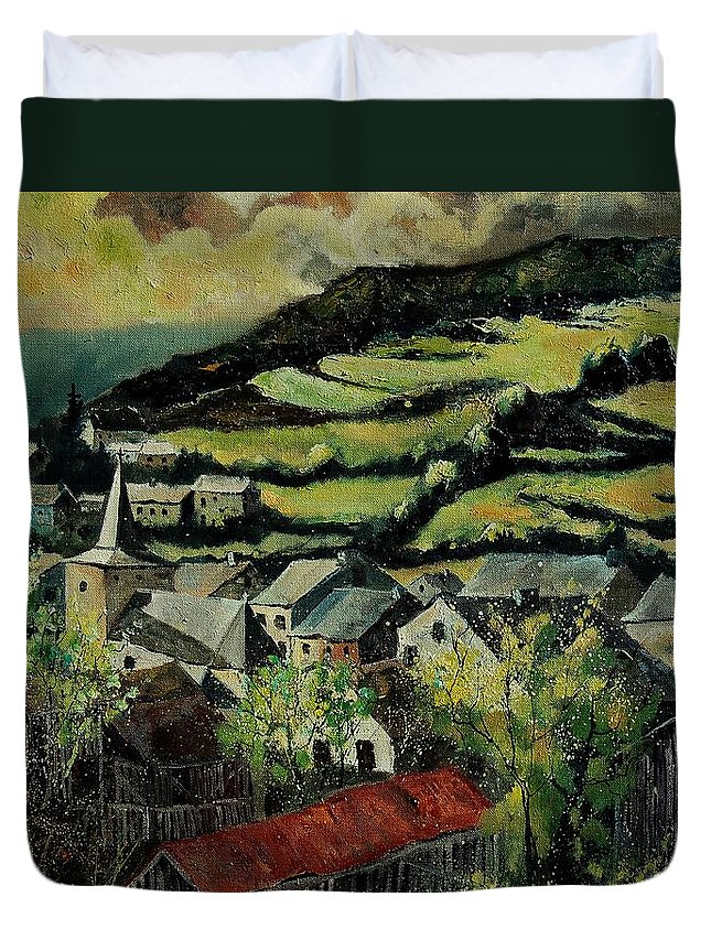 Spring Duvet Cover featuring the painting Spring In Vresse Ardennes Belgium by Pol Ledent