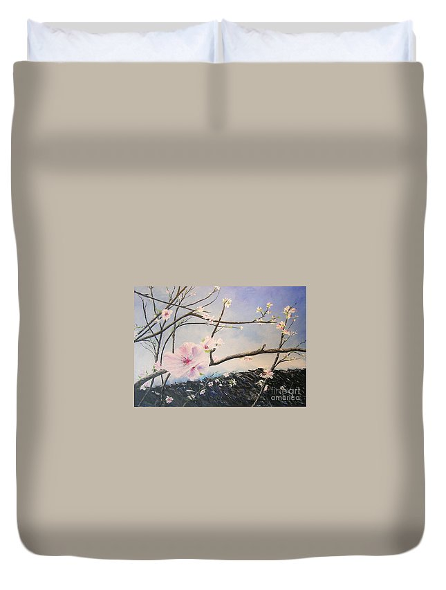 Flower Duvet Cover featuring the painting Spring Is In The Air by Lizzy Forrester