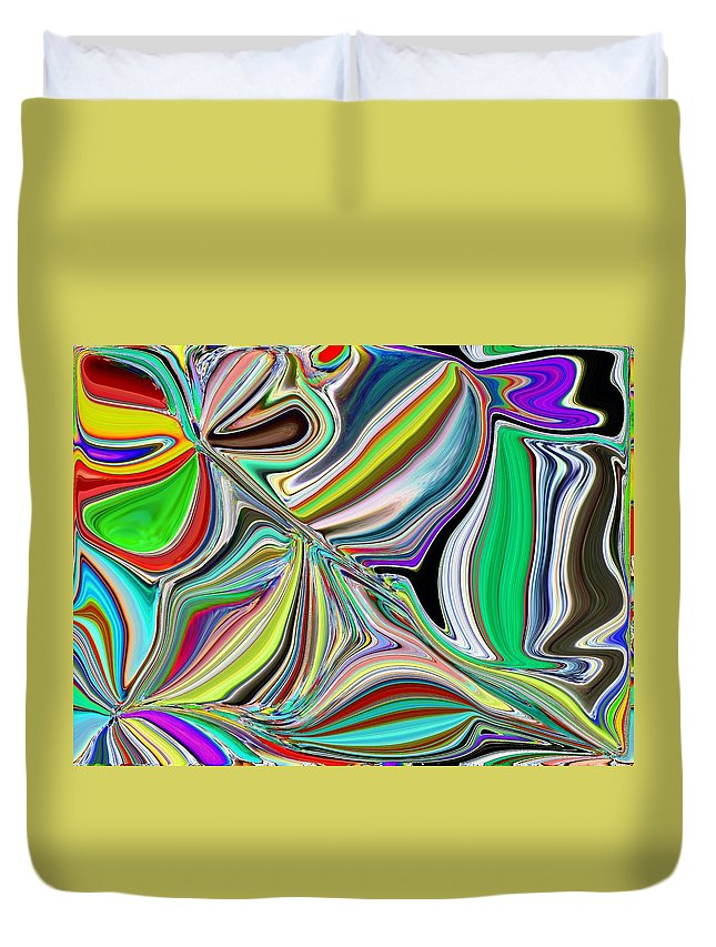 Abstract Duvet Cover featuring the digital art Spring Kaleidoscope by Tim Allen