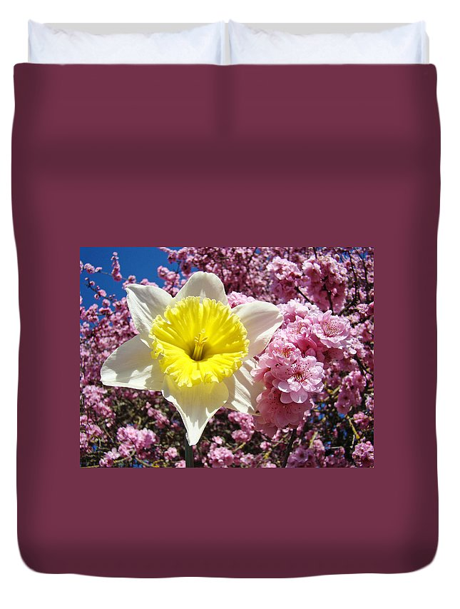 Spring Duvet Cover featuring the photograph Spring Landscape Pink Tree Blossoms Yellow Daffodils Baslee Troutman by Baslee Troutman