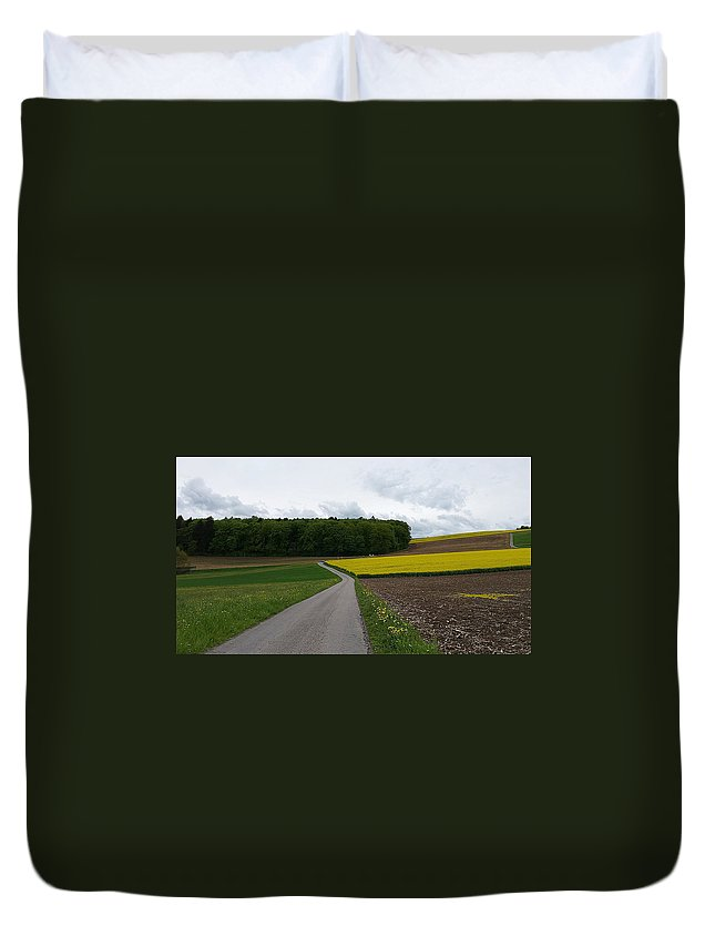 Landscape Duvet Cover featuring the photograph Spring Lines by Felicia Tica