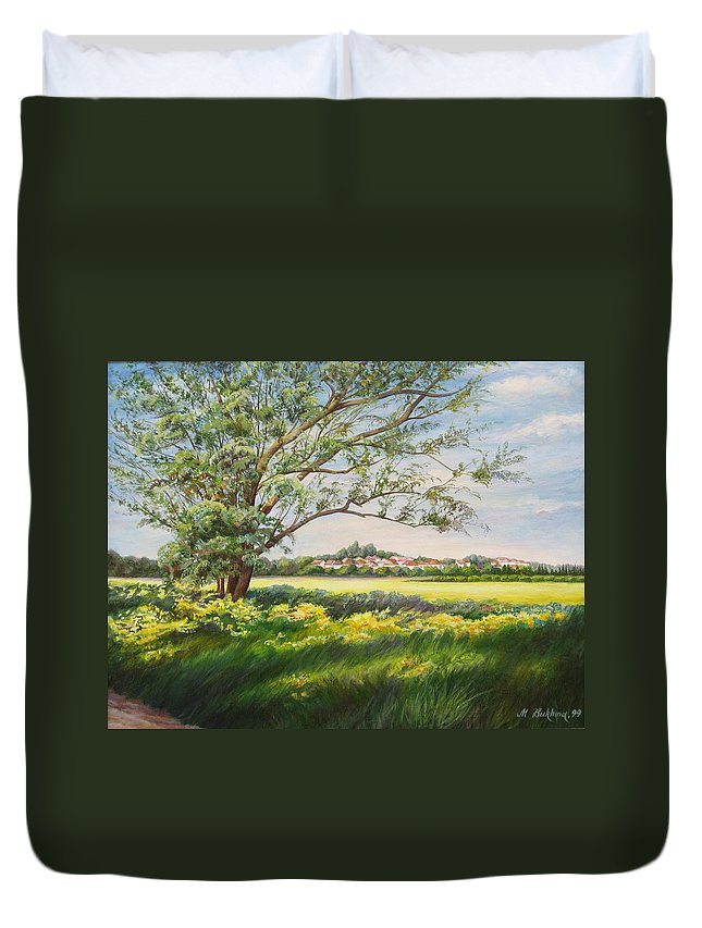 Landscape Duvet Cover featuring the painting Spring by Maya Bukhina