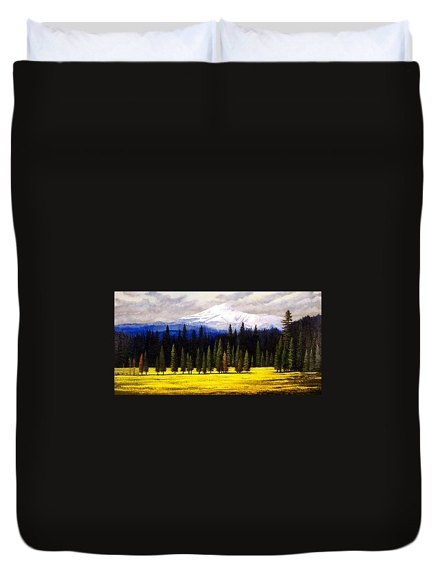 Landscape Duvet Cover featuring the painting Spring Meadow Mount Brokeoff by Frank Wilson