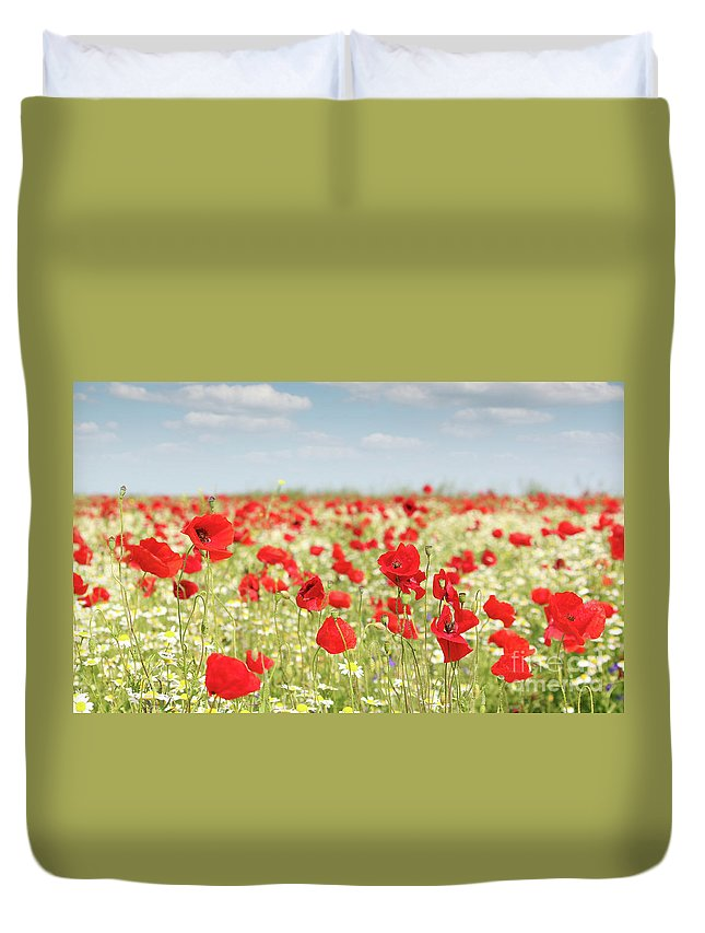 Camomile Duvet Cover featuring the photograph Spring Meadow With Wild Flowers by Goce Risteski