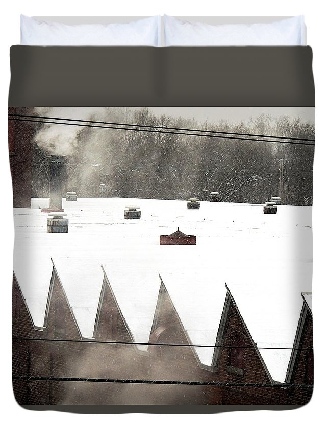 Factory Duvet Cover featuring the photograph Spring Mill City by Vincent Green