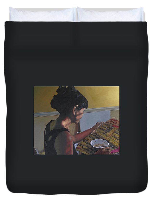 Women Reading Newspaper Duvet Cover featuring the painting Spring Morning Cabot Arkansas by Thu Nguyen