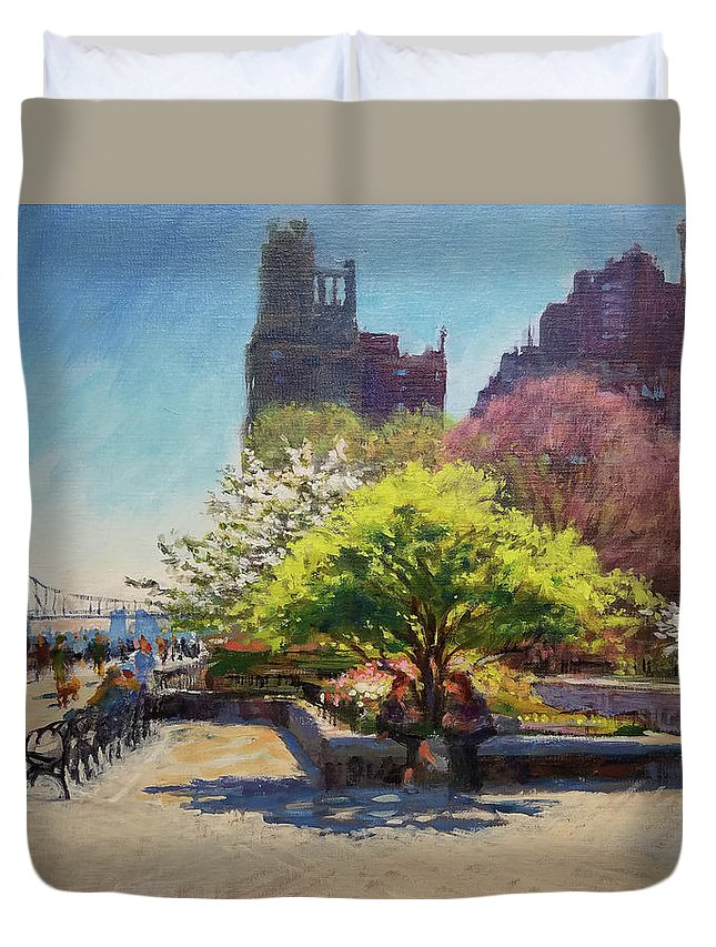 Landscape Painting Duvet Cover featuring the painting Spring Morning On John Finley Walk by Peter Salwen