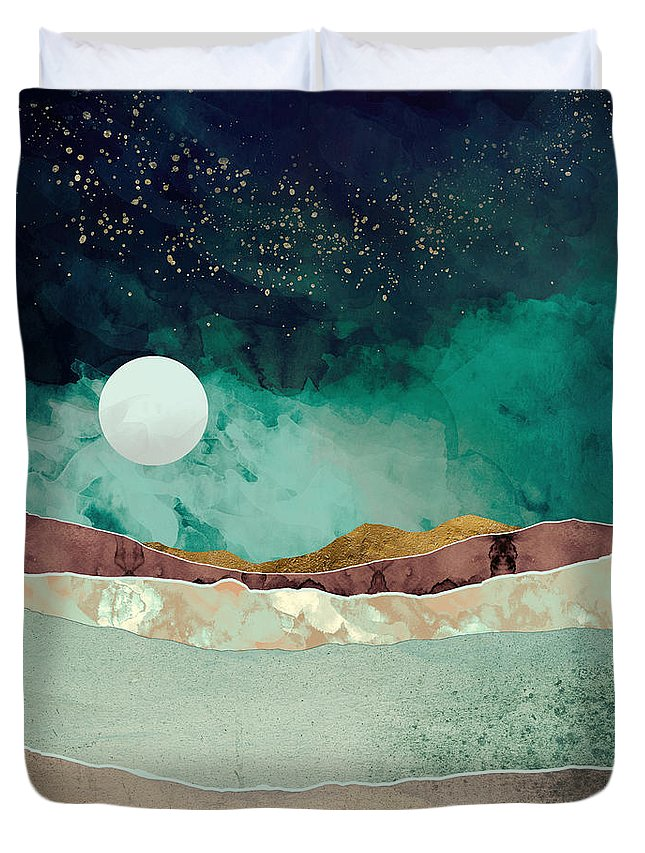 Spring Duvet Cover featuring the digital art Spring Night by Katherine Smit