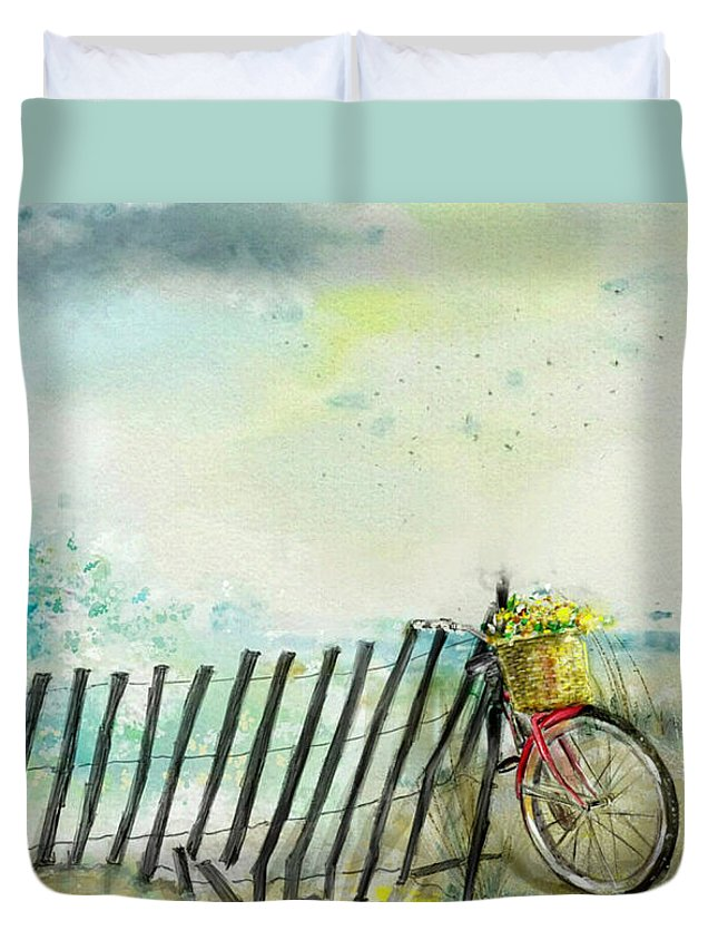 Spring Duvet Cover featuring the painting Bicycle Ride. Mayflower Storm. by Mark Tonelli