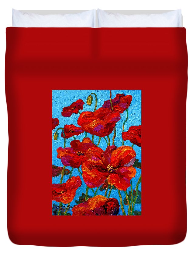 Poppies Duvet Cover featuring the painting Spring Poppies by Marion Rose