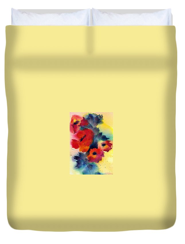 Poppies Duvet Cover featuring the painting Spring Quartet by Anne Duke