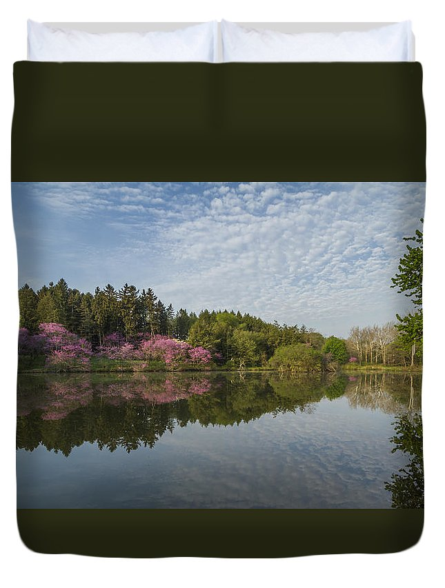 Redbud Duvet Cover featuring the photograph Spring Redbud Trees by Lindley Johnson