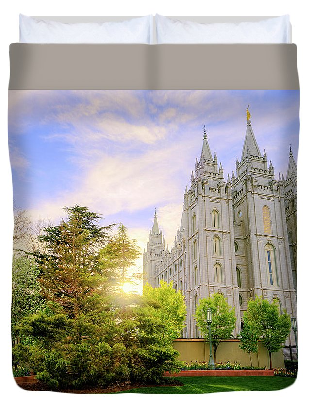 Salt Lake Duvet Cover featuring the photograph Spring Rest by Chad Dutson
