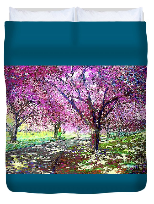 Sun Duvet Cover featuring the painting Cherry Blossom by Jane Small