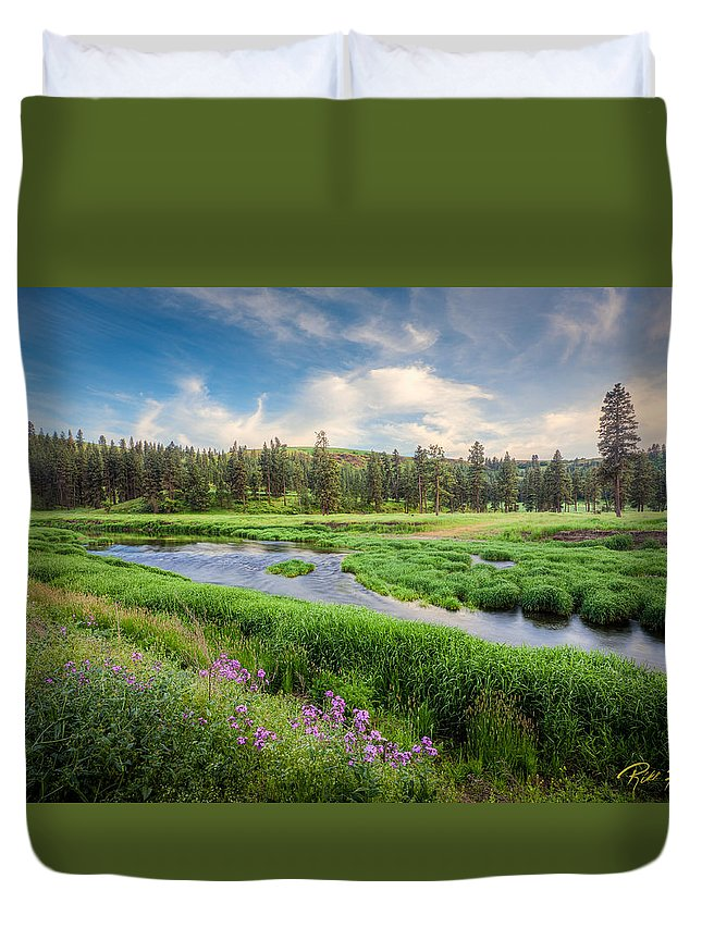 Washington Duvet Cover featuring the photograph Spring River Valley by Rikk Flohr