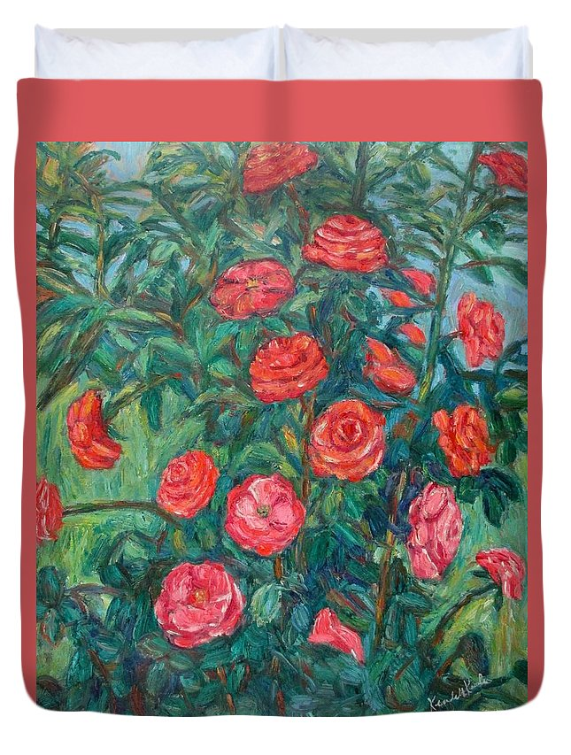 Rose Duvet Cover featuring the painting Spring Roses by Kendall Kessler