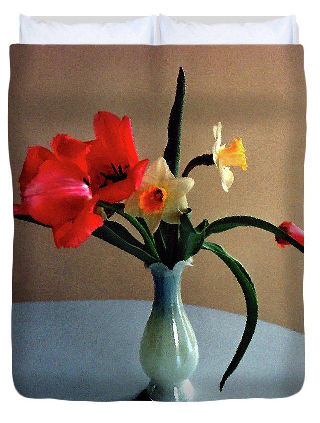 Spring Duvet Cover featuring the digital art Spring Still Life by Steve Karol