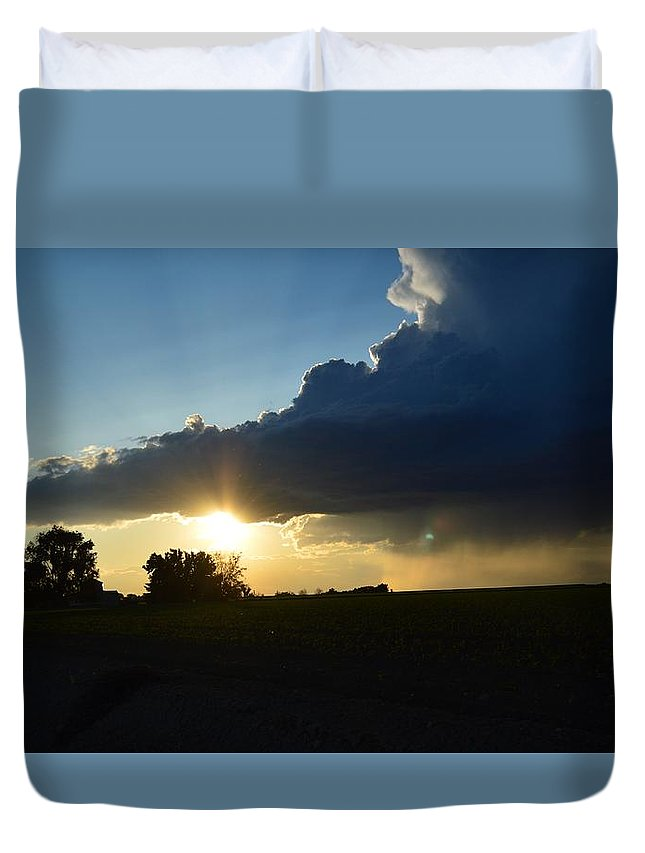 Sky Duvet Cover featuring the photograph Rain Rain Go Away by Kayla Craig