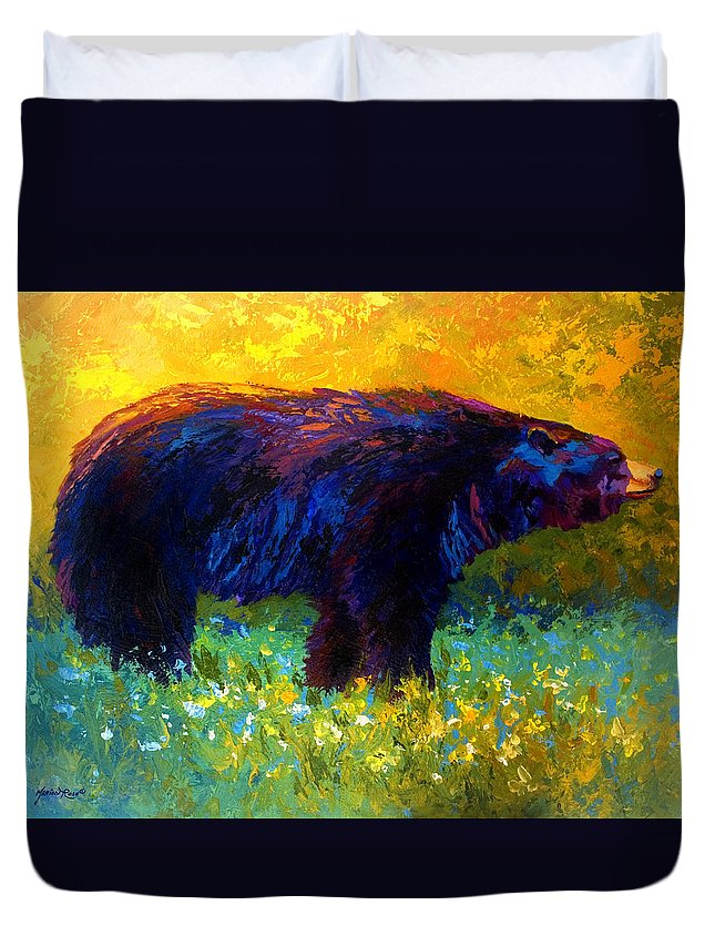 Bear Duvet Cover featuring the painting Spring Stroll - Black Bear by Marion Rose