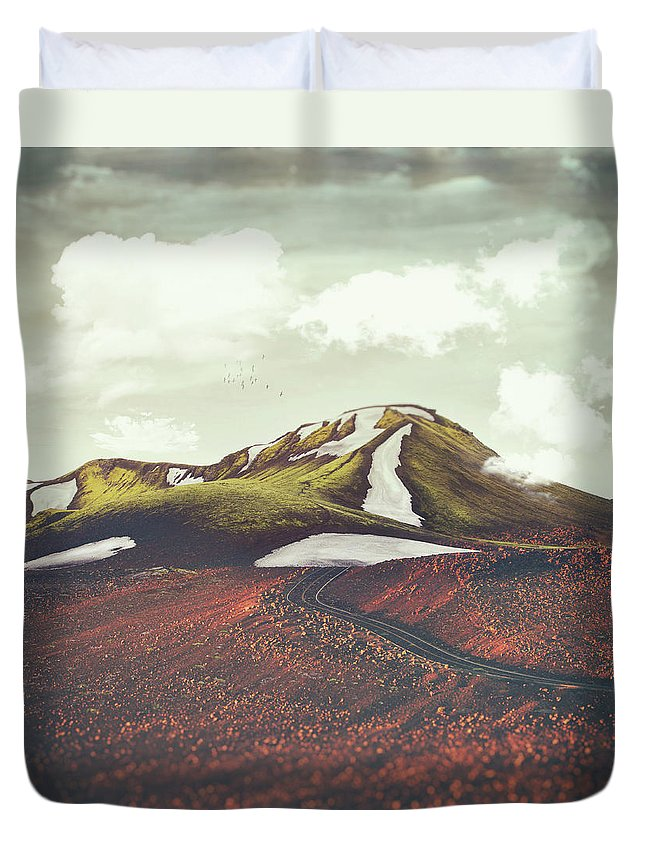 Landscape Spring Winter Dreamscape Hills Mountains Duvet Cover featuring the digital art Spring Thaw by Katherine Smit