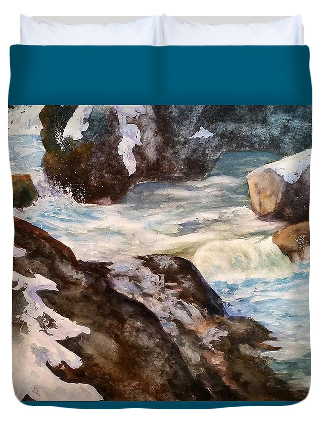 Waterfall Duvet Cover featuring the painting Spring Thaw by Sharon E Allen