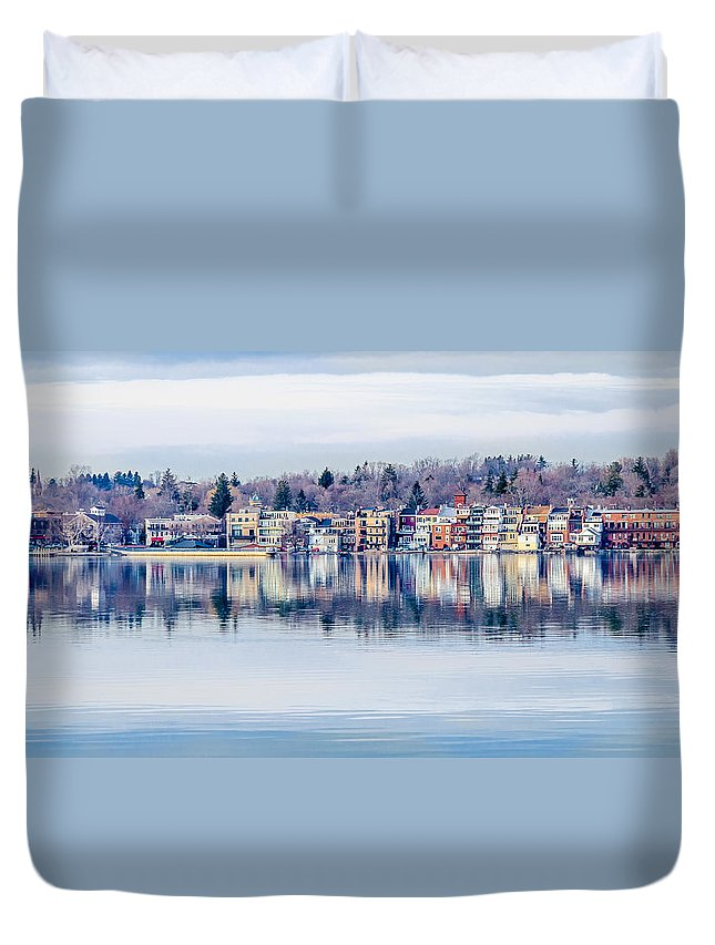Skaneateles Duvet Cover featuring the photograph Spring Time Waterfront by Robert Green