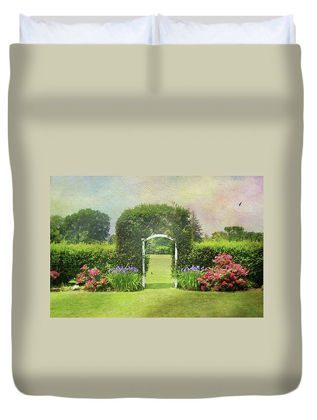 Trellis Duvet Cover featuring the photograph Spring Trellis by Diana Angstadt