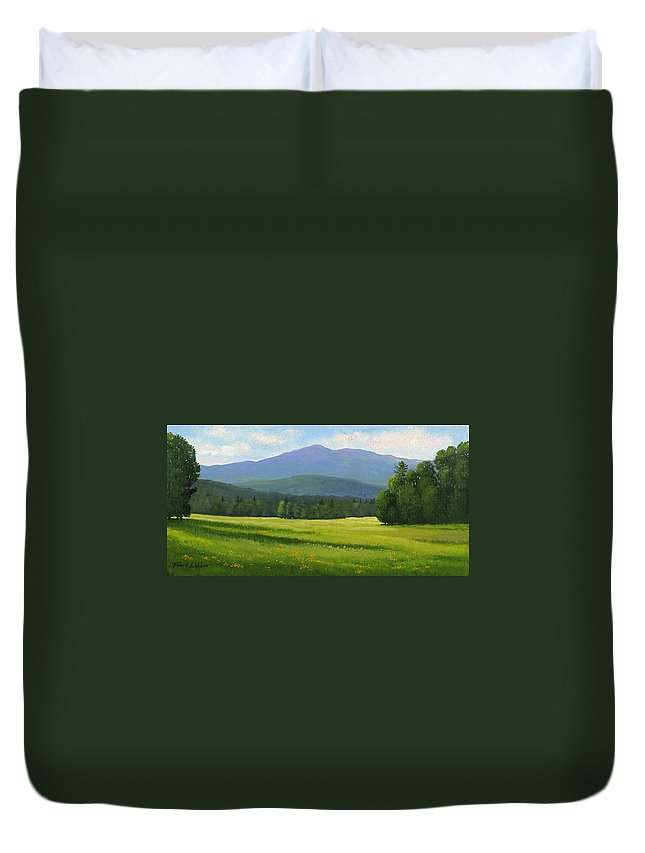 Landscape Duvet Cover featuring the painting Spring Vista by Frank Wilson