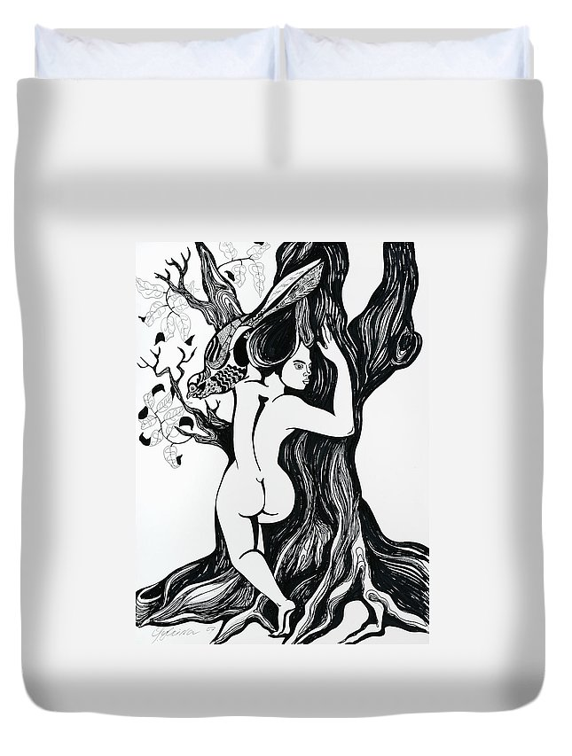 Surreal Duvet Cover featuring the drawing Spring by Yelena Tylkina