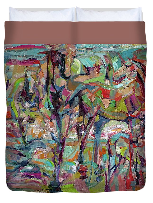 Horse Duvet Cover featuring the painting Springponies by Lara Branca